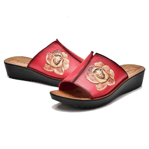 Women Leather Wedge Sandals Outdoor Casual Slippers