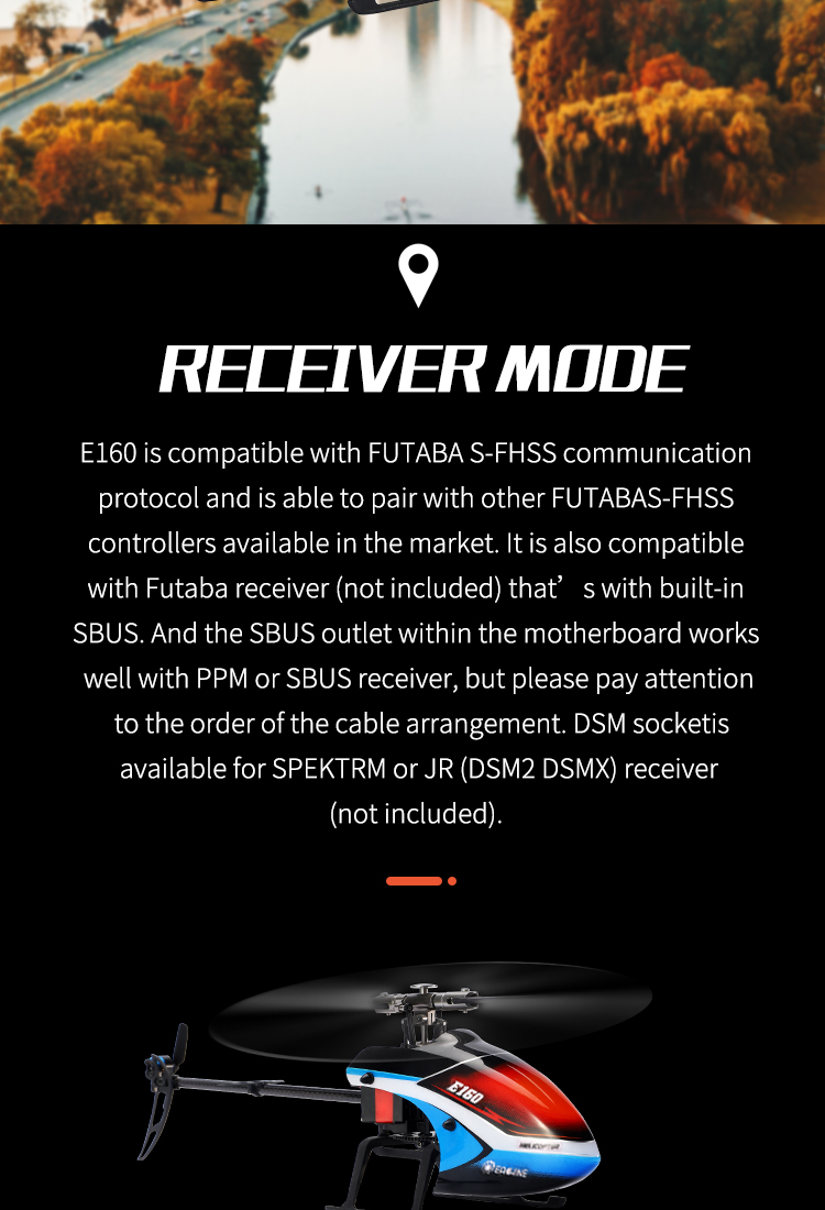 Eachine E160 6CH Dual Brushless 3D6G System Flybarless RC Helicopter RTF with E160 Backpack