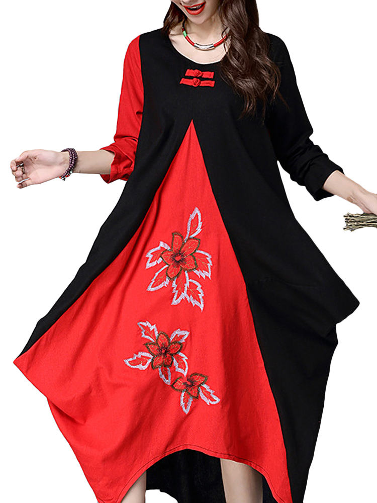 Folk Style Black Red Patchwork Embroidery Long Sleeve Loose Dress For Female
