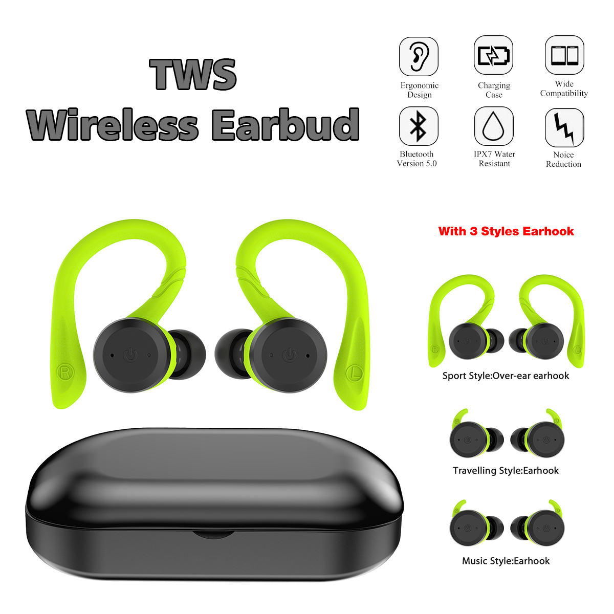 [bluetooth 5.0] Mini Wireless Earphone Stereo IPX7 Waterproof Noise Reduction With Charging Case