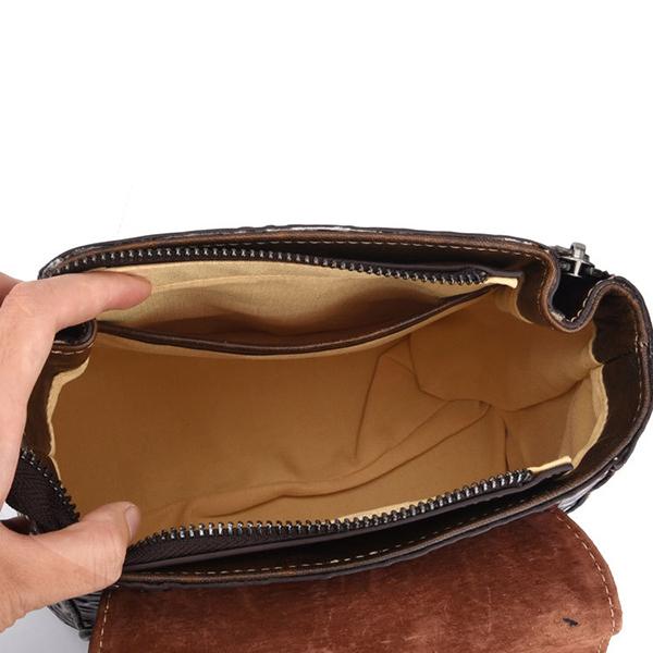 Brenice Women Cowhide Embossed Sling Bag Lock Crossbody Bag