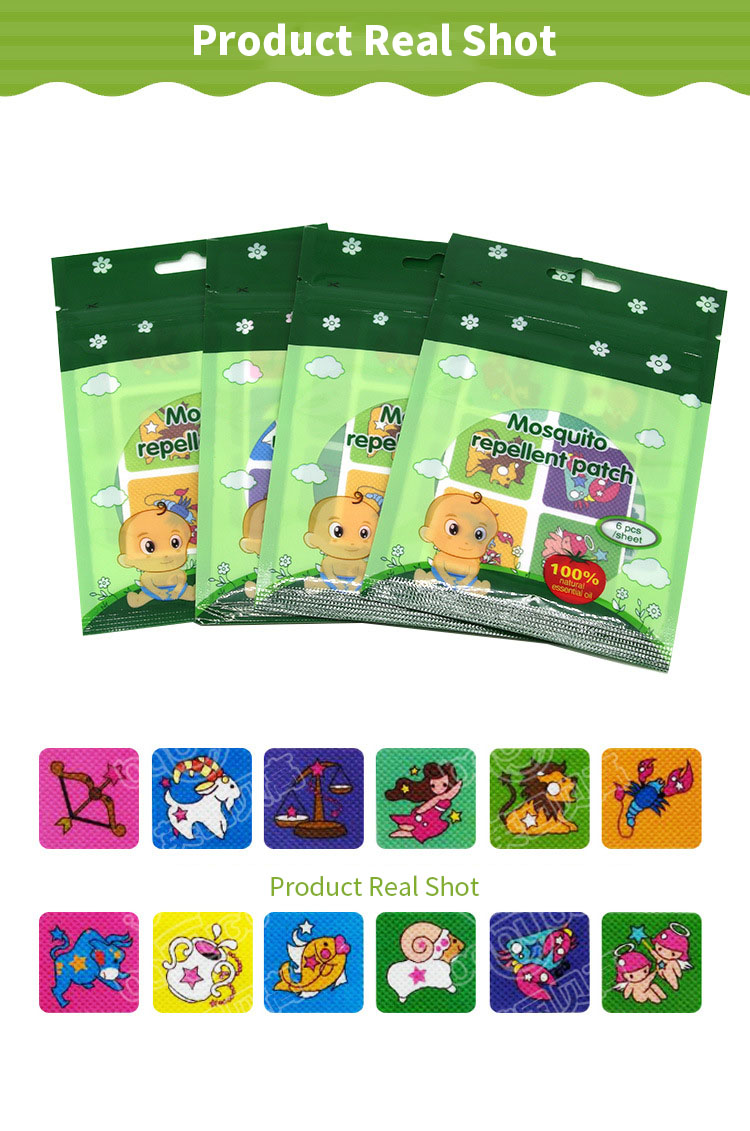 BabyGo 6PCS/Pack Pure Natural Plant Mosquito Repellent Sticker Non-woven Adhesive High Kids Mosquito Repellent Bracelet