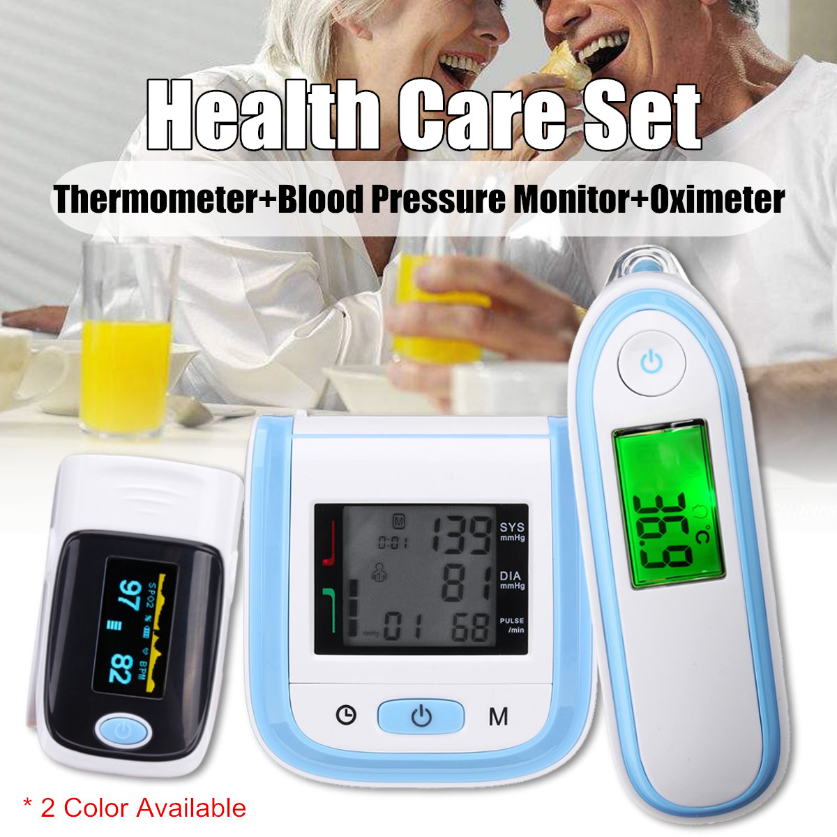 Digital Thermometer Fingertip Pulse Oximeter Wrist Blood Pressure Monitor Infrared Body Thermometer