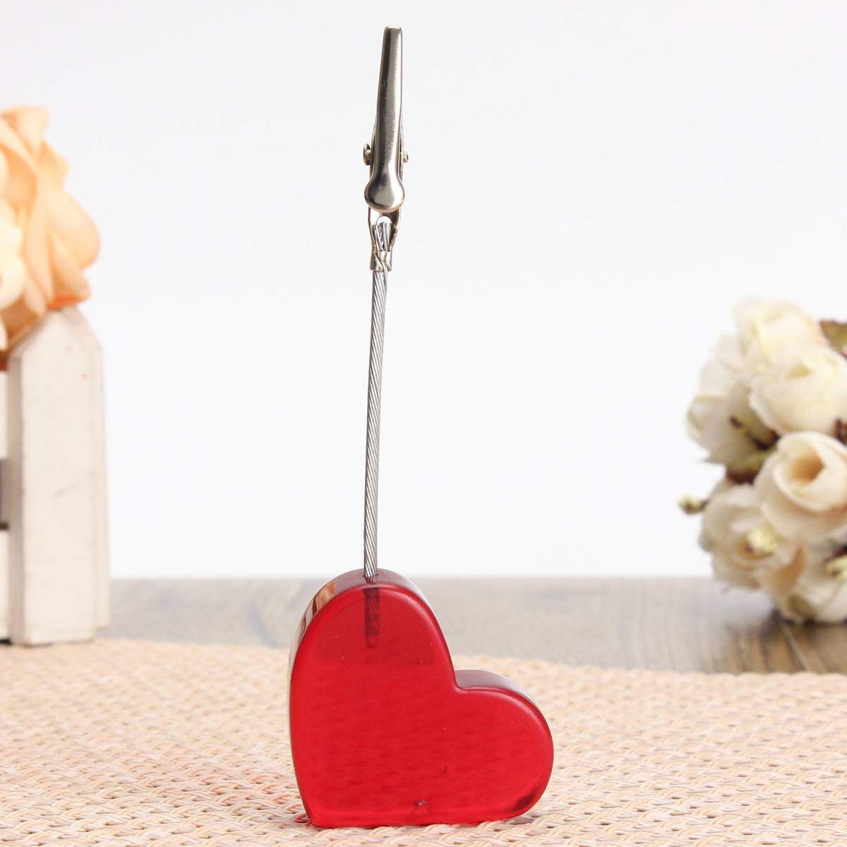 Red Heart Pictures Resin Alligator Clip Card Stand Photo Card Holder Memo Paper Message Clip