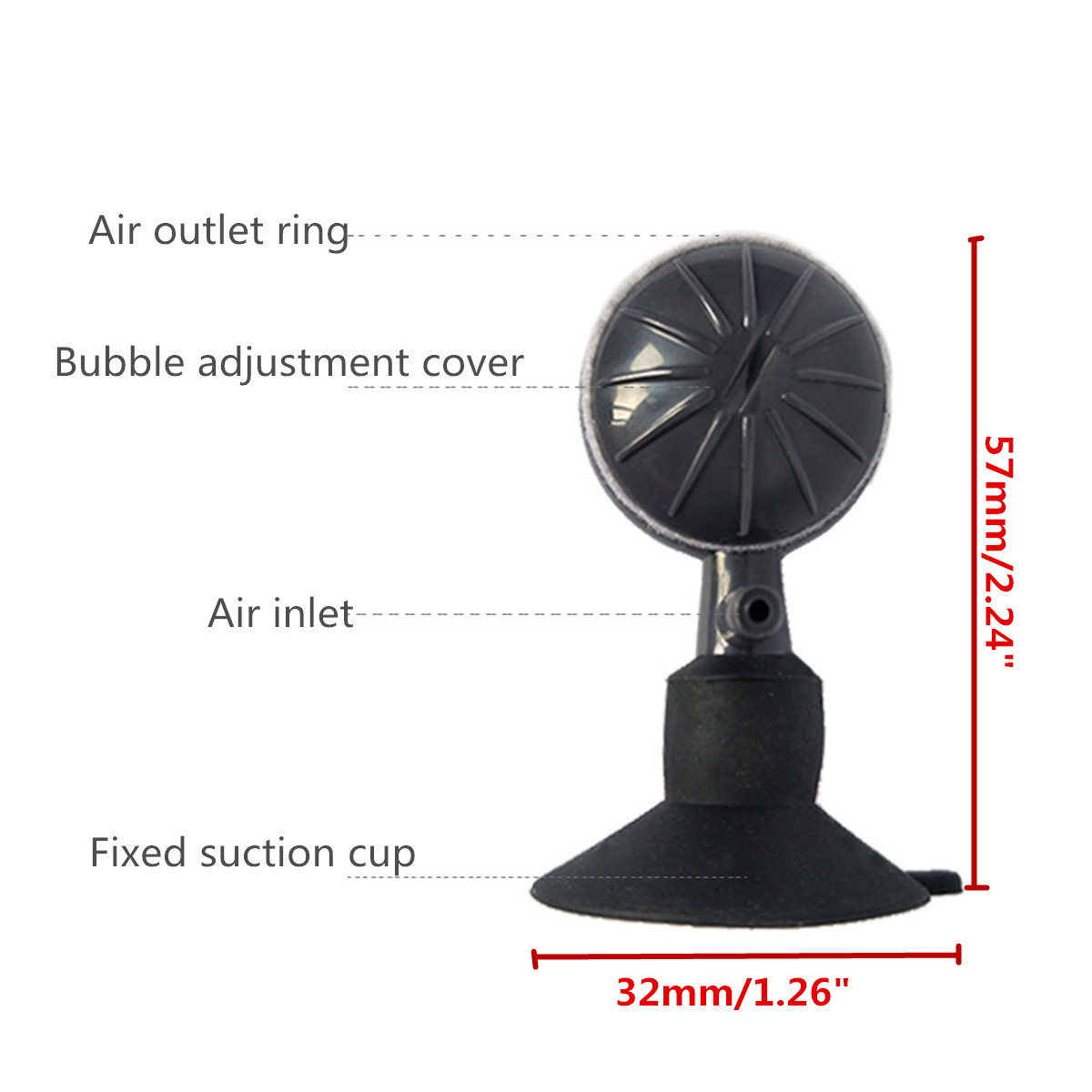 Adjustable Small Bubble Air Stone Diffuser Oxygen Aeration Pump Aquarium Fish Tank Suction Cup