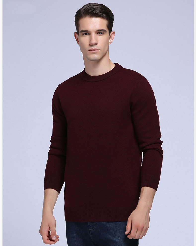 Winter 100% Merino Woolen knitted Sweater Men's Casual Round Neck Long Sleeved Thick Pullover