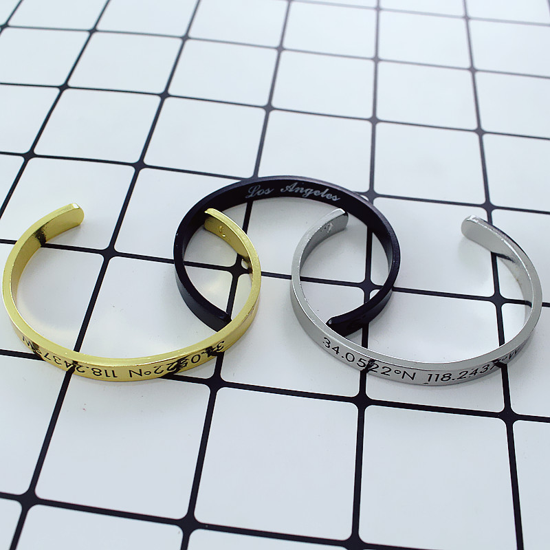 Unisex Engraved Degree of Longitude Latitude Bracelet