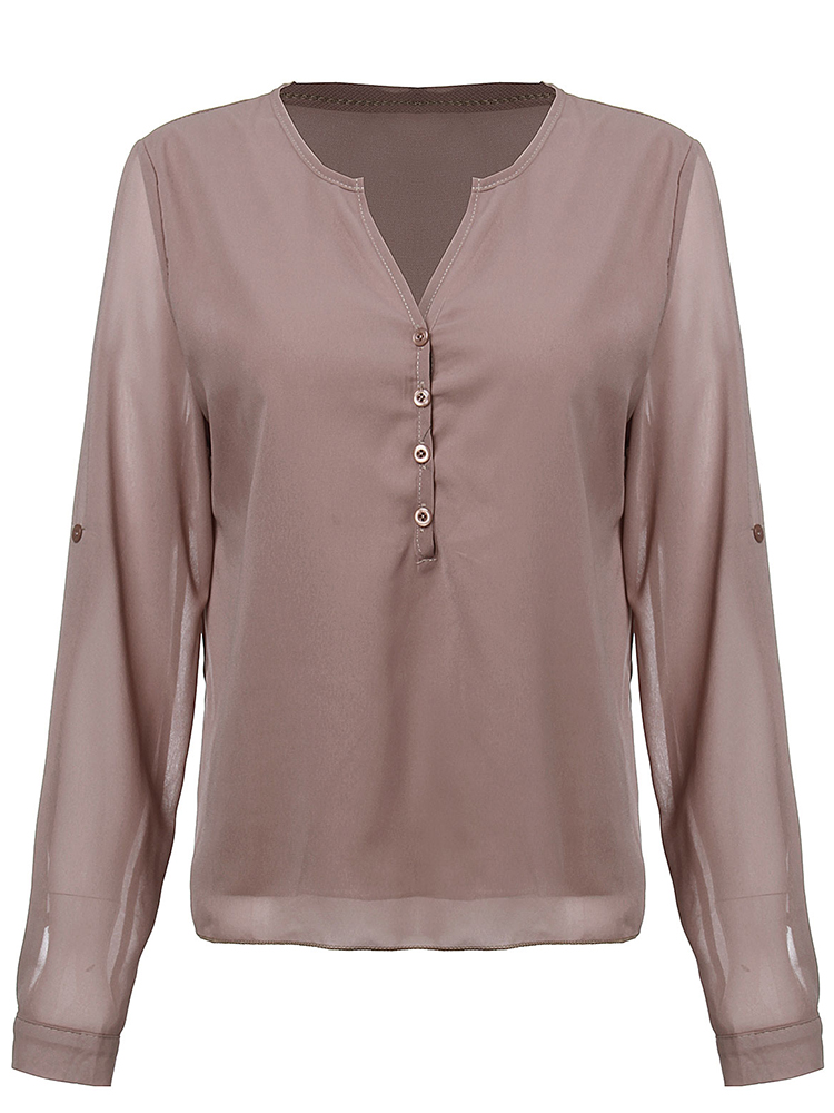 Sexy Women V Neck Adjustable Sleeve Button Irregular Chiffon T-Shirt
