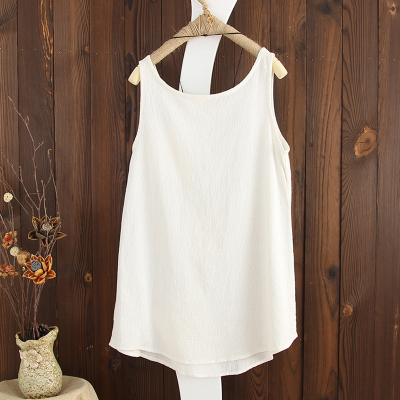 Women Summer Pure Color Pocket Linen Cotton Tank Tops