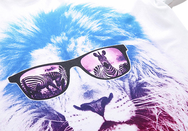 Men's Summer Breathable Quick Drying 3D T-shirt Casual Fashion Lion Head Printing Short-sleeve T-shi