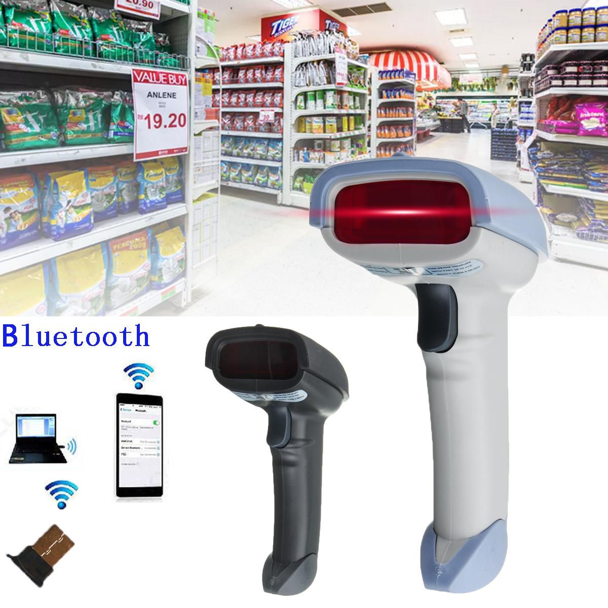 Wireless bluetooth Handheld USB Laser Barcode Scanner Barcode For PC IOS