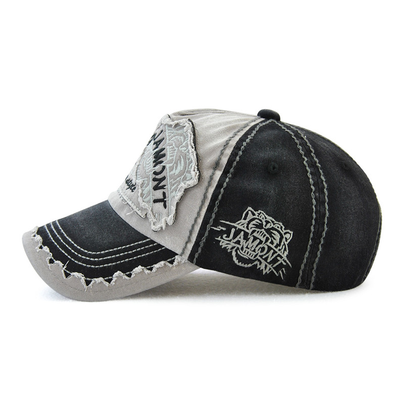 Men Women Canvas Letter Printted Patchwork Peaked Cap