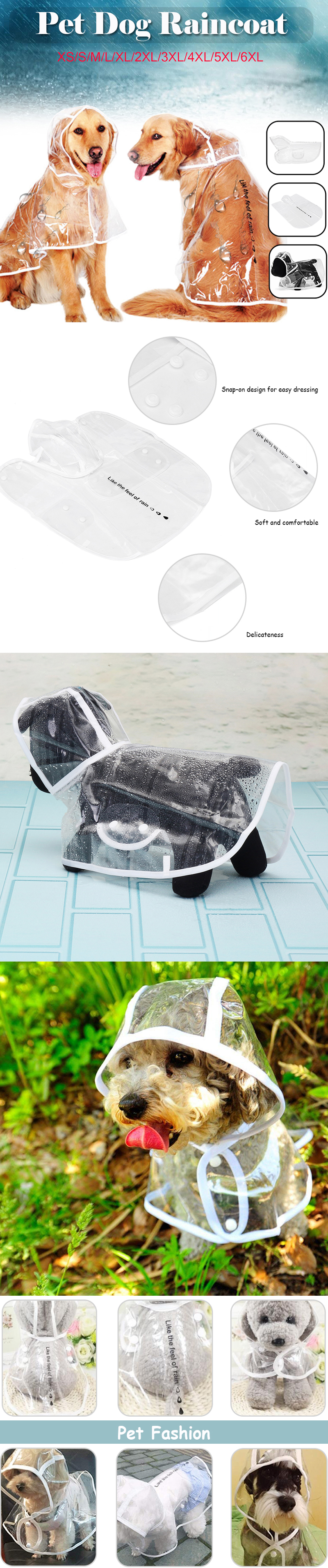 PU Pet Clothes Waterproof Light Dog Raincoat Transparent PVC Rain Coat With Hood