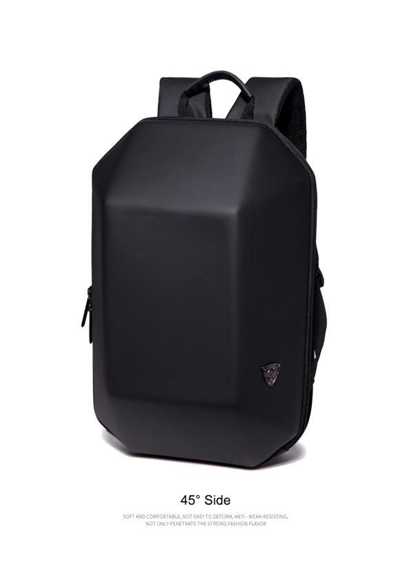 Men Black Hard Shell Backpack Anti Theft Laptop Backpack Large Capacity Multifunction Computer Bag