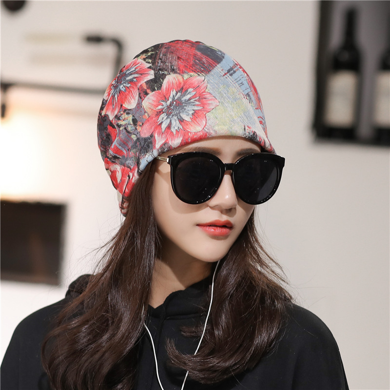 Womens Ethnic Stripe Double Layers Beanie Hat Brimless Cap