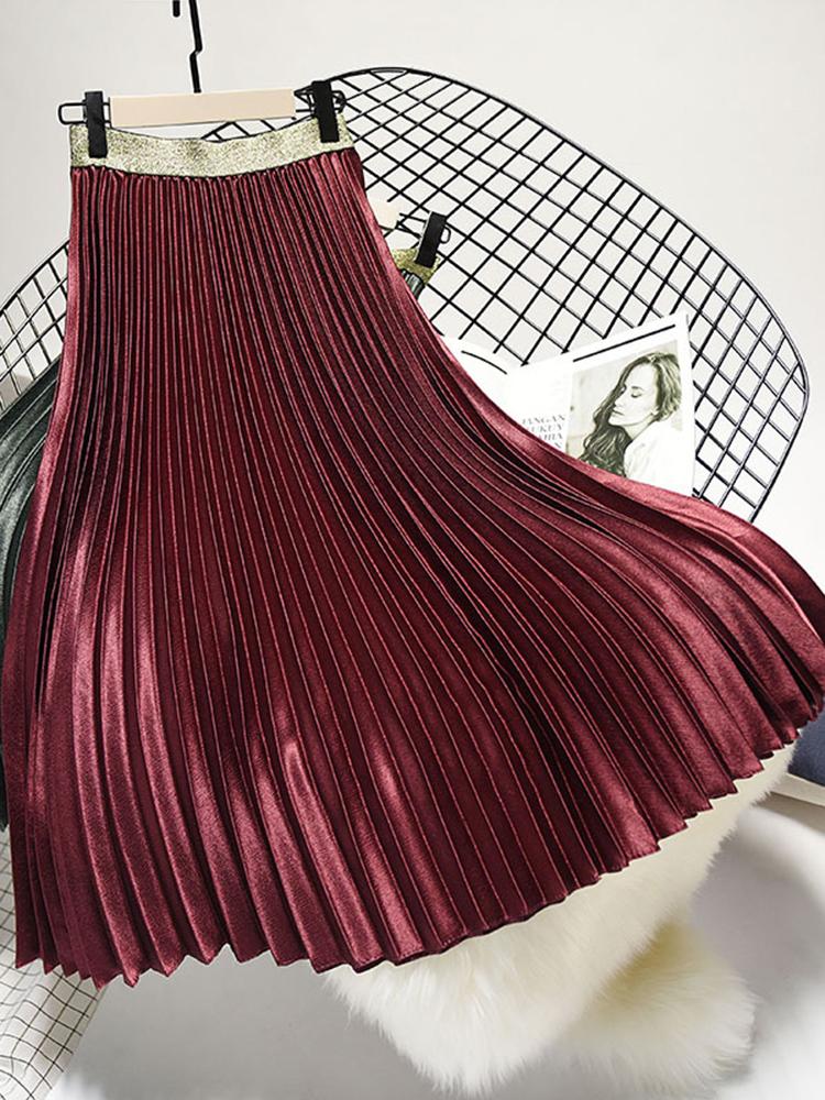 Elegant Women 6 Colors Velvet Pleated Skirts