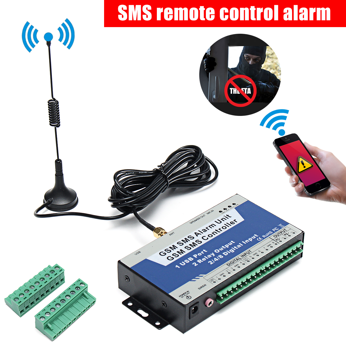 S150 GSM SMS USB Remote Controller Alarm Security Switch System Fit Android IOS