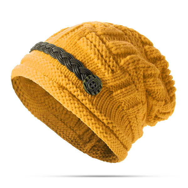 Women Girl Crochet Strap Knitting Caps Button Decorative Baggy Beanie Hat