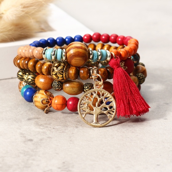 Vintage Hollow Tree of Life Elastic Beaded Bracelets
