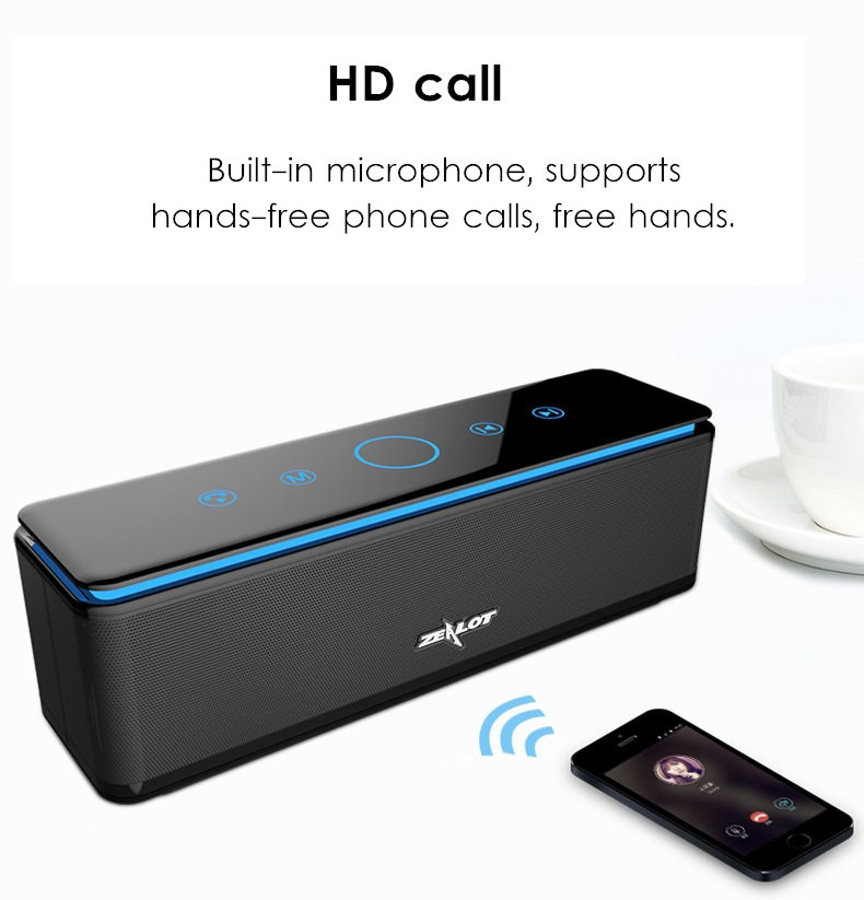 ZEALOT S7 4 Units HiFi Wireless bluetooth Speaker 10000mAh Touch Control TF Card Heavy Bass Speaker