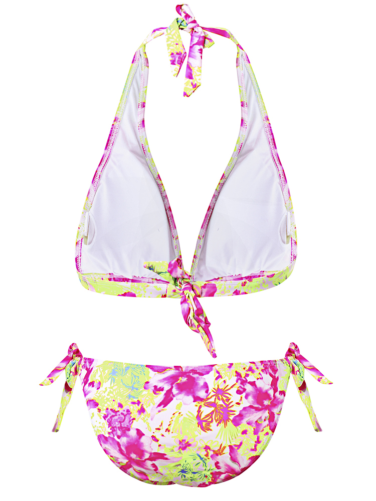 Floral Pattern Backless Bikini Halter Triangle Swimwear Sets