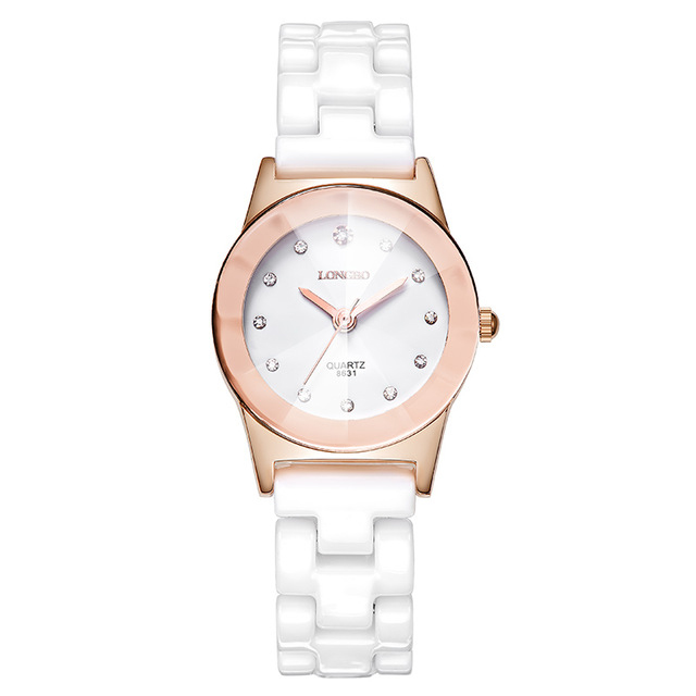 LONGBO 8631 White Ceramic Diamond Couple Watch Waterpro