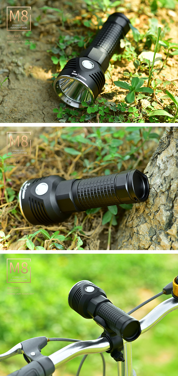 Maeerxu M8 XP-L HI 1200Lumens Stepless Dimming Long Range USB Rechargeable LED Flashlight