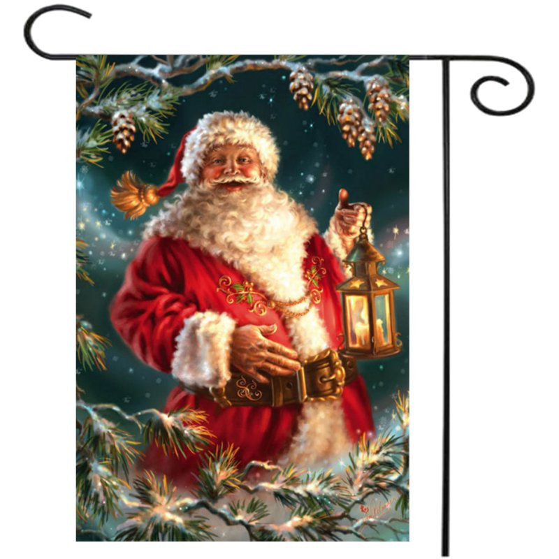 30x45cm Christmas Santa Claus Polyester Welcome Flag Garden Holiday Decoration