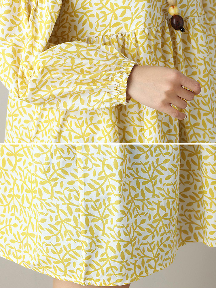 Plus Size Casual Women Leaves Printed Shirts