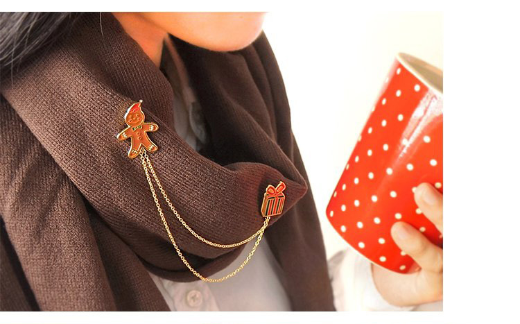 Christmas Brooch Garland Garland Balls Bowknot Design Chain Tassel Brooches Christmas Gift Shirt Collar