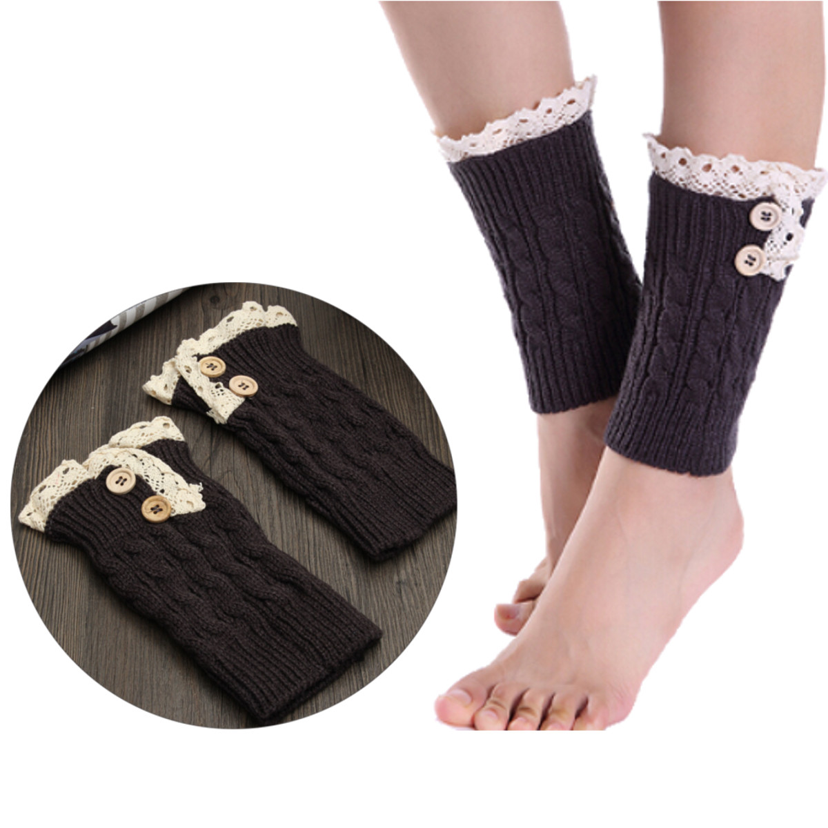 Women Ladies Lace Knitted Twist Button Short Paragraph Wool Socks Boot Short Socks
