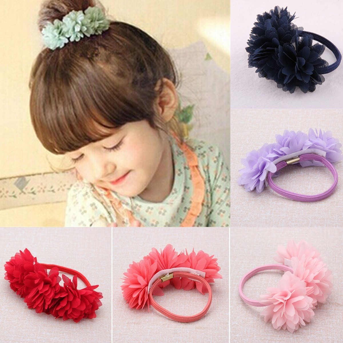 Kid Girls Baby Toddler Infant Cloth Flower Floral Headbrand Children Princess Hair Rope Accessories