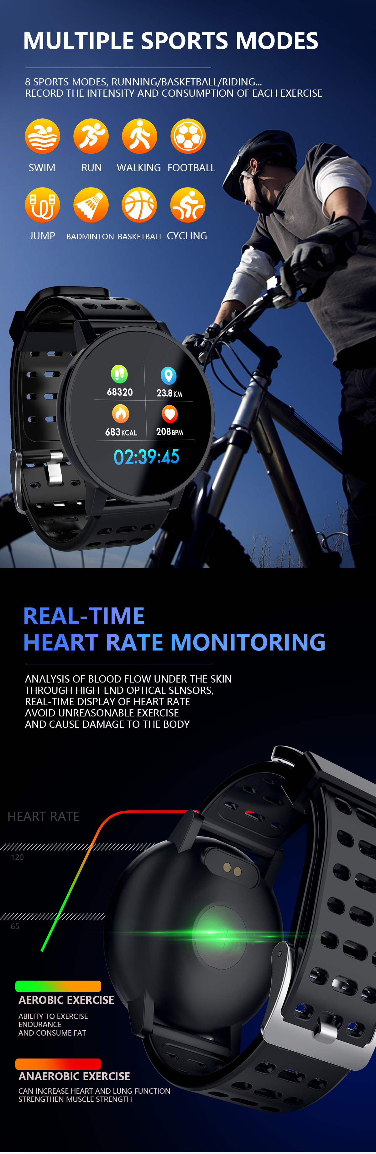 XANES M11 1.3'' TFT Color Touch Screen IP67 Waterproof Smart Watch Sleep Heart Rate Monitor Multiple Sports Modes Anti-lost Fitness Smart Bracelet