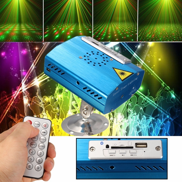 Mini bluetooth R&G Laser Light USB SD Projector Disco Stage Xmas Party DJ Club