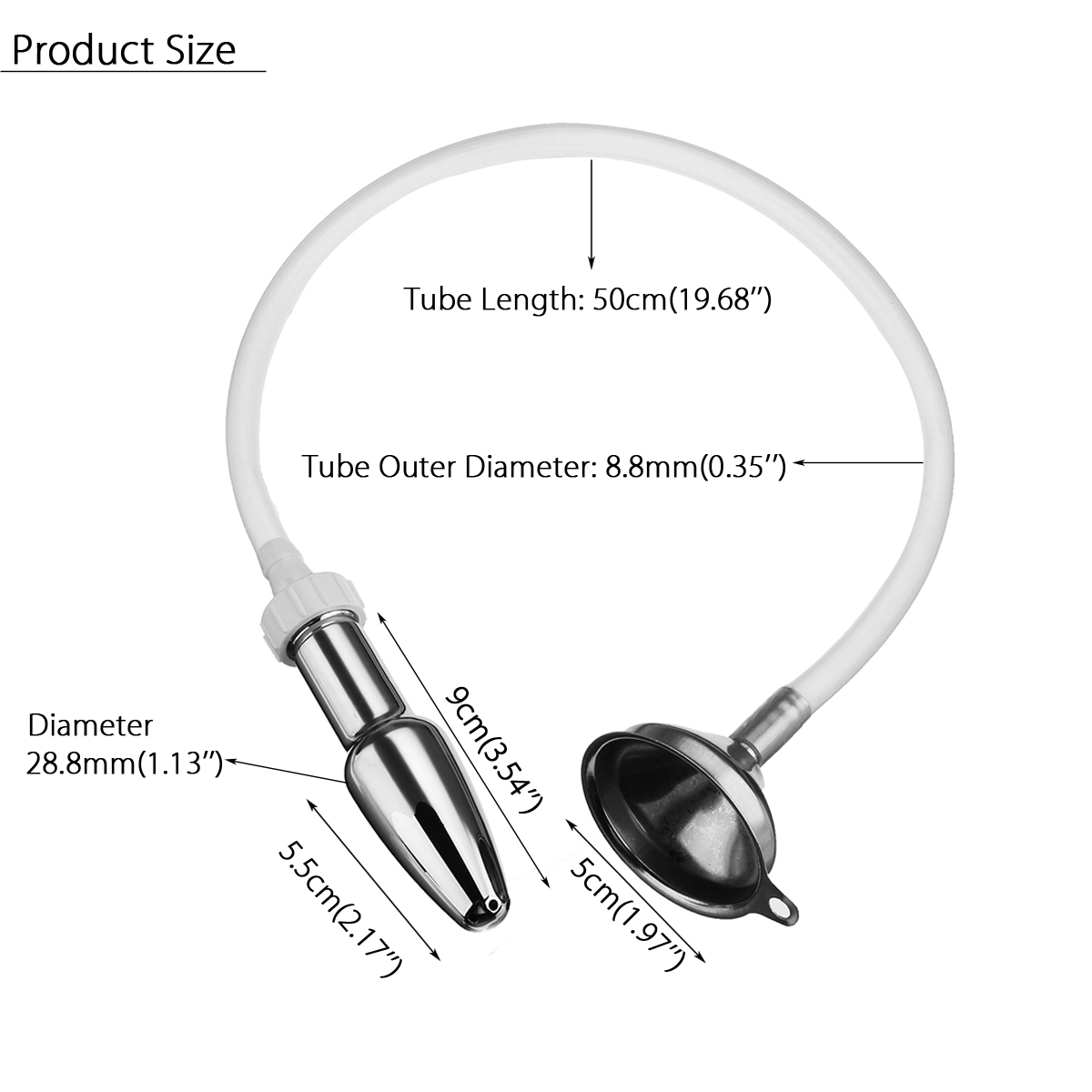 Anal Stainless Steel Funnel Filler Enema Silicone Hose Rectum Cleaner Insert Stopper Armarium Medical Equipment