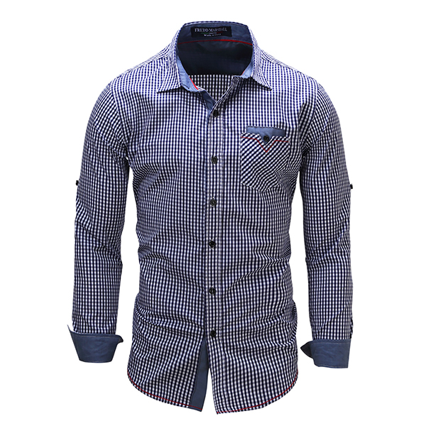 Mens Casual Plaid Cotton Long Sleeve Lapel Checker Shirts