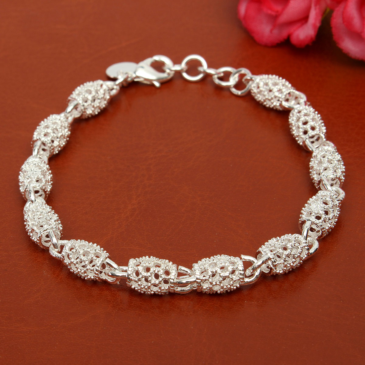 925 Sterling Silver Plated Beads Charm Chain Bracelets For Women