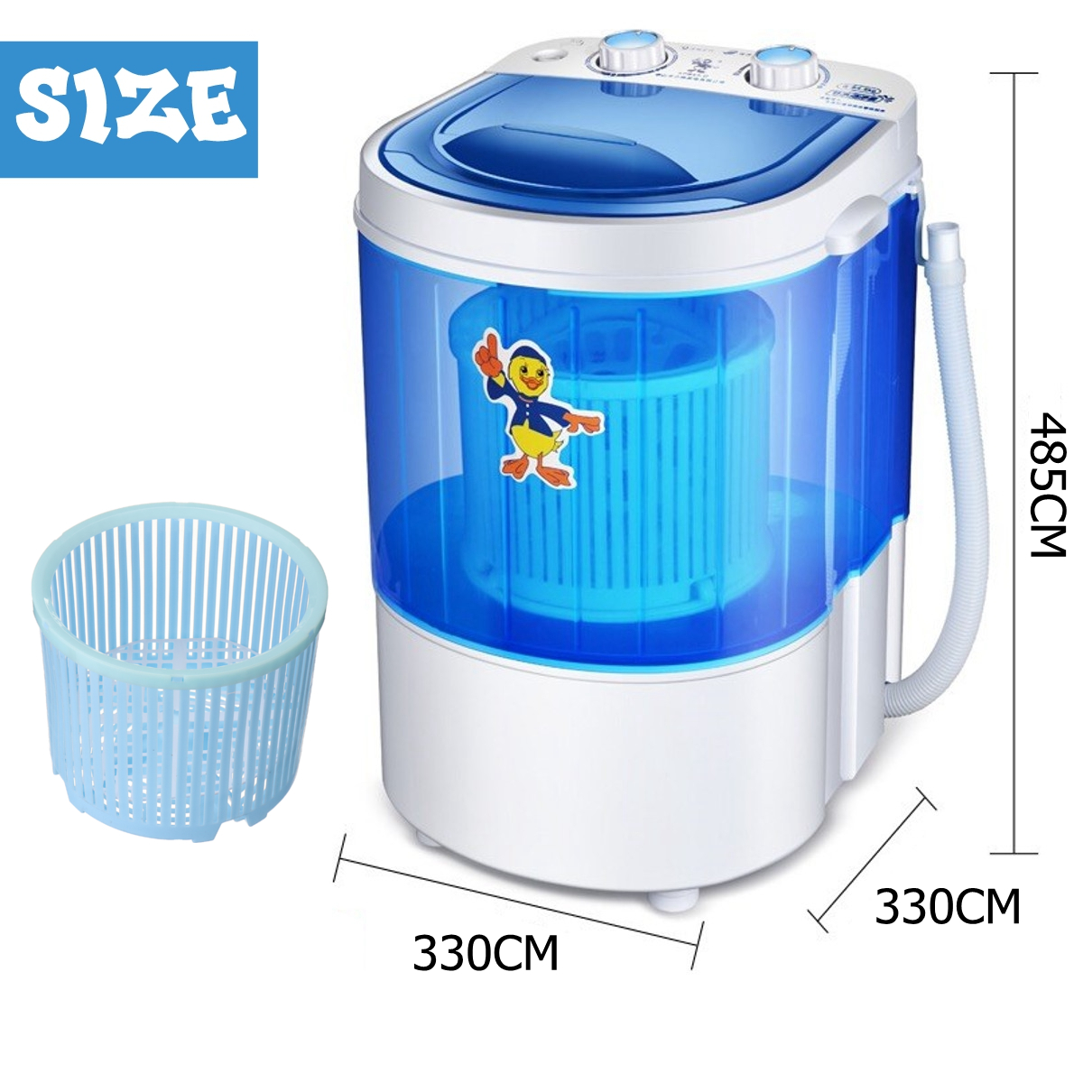 Mini Washing Machine Semi-automatic Single-barrel Washer Prevent Winding Wave Wheel Laundry Product for Bathroom