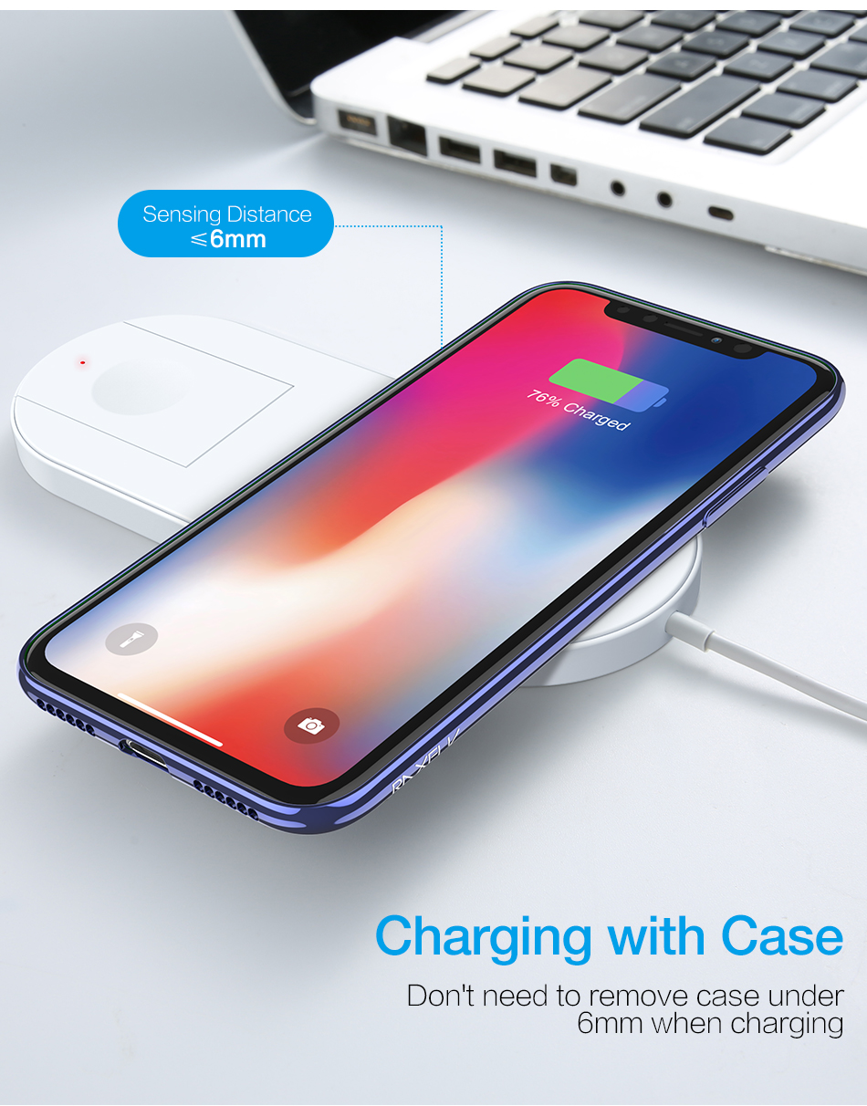RAXFLY 10W 7.5W Foldable Wireless Charger Charging Dock For iPhone XS MAX XR Apple Watch 2 3 Note 9