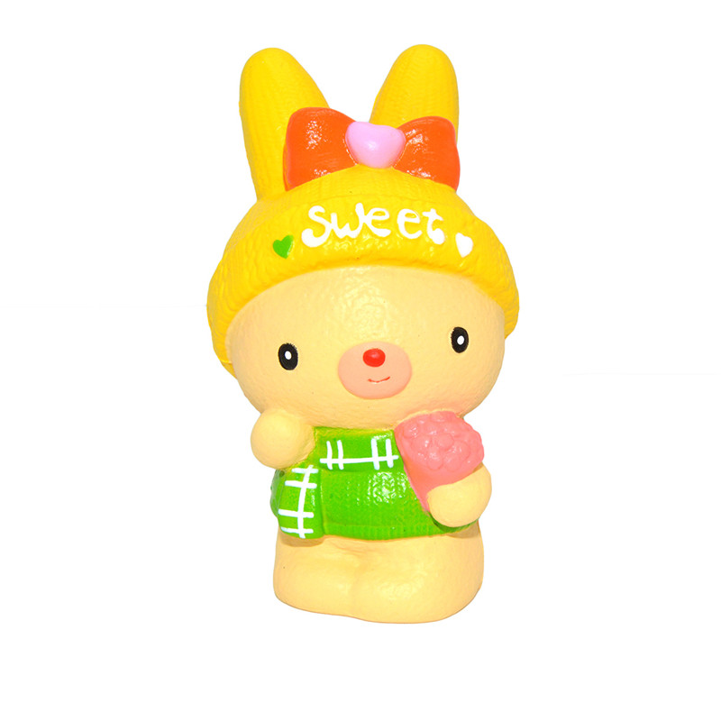 2Pcs Kiibru Squishy Sweet Bunny Rabbit Holding Flowers 14cm Licensed Soft Slow Rising With Packaging