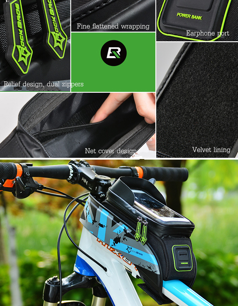 Rockbros Cycling Bike Waterproof Detachable Beam Bag Screen Touch 010 4bk Mtb Handlebar 6 Inch Front Frame Pouch For Phone