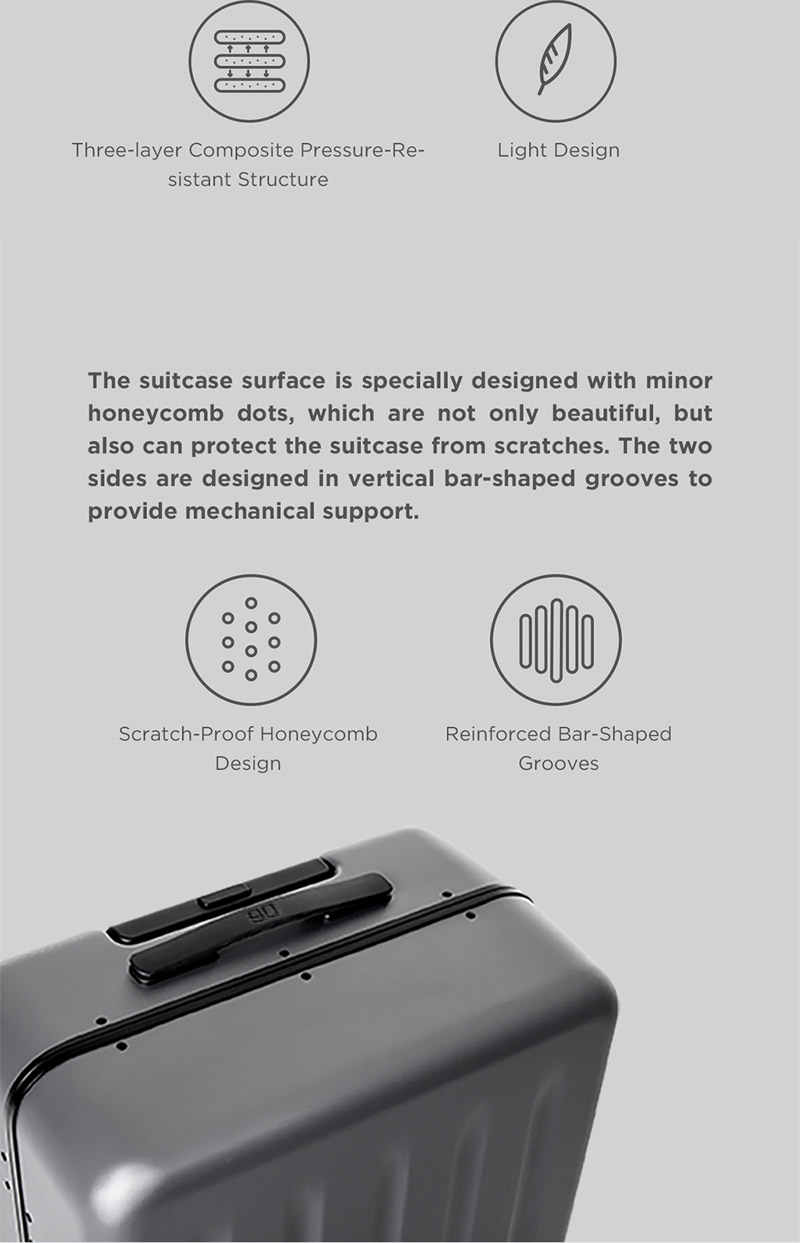 Xiaomi 90FUN 20/24inch Lightweight Aluminum Framed Travel Suitcase PC Spinner Wheel Carry On Luggage