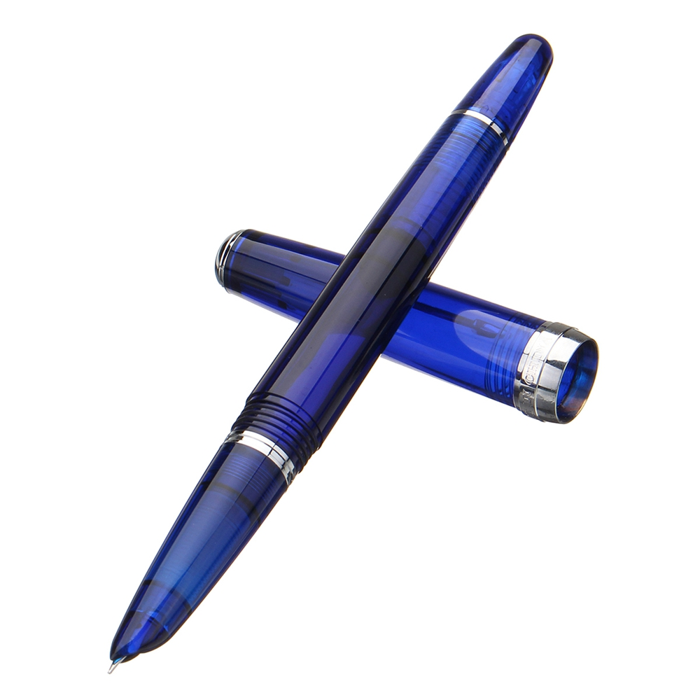 Wingsung 618 Transparent Blue Piston Fountain Pen Silver Clip 0.5mm Fine Nib Smooth Writing Pen