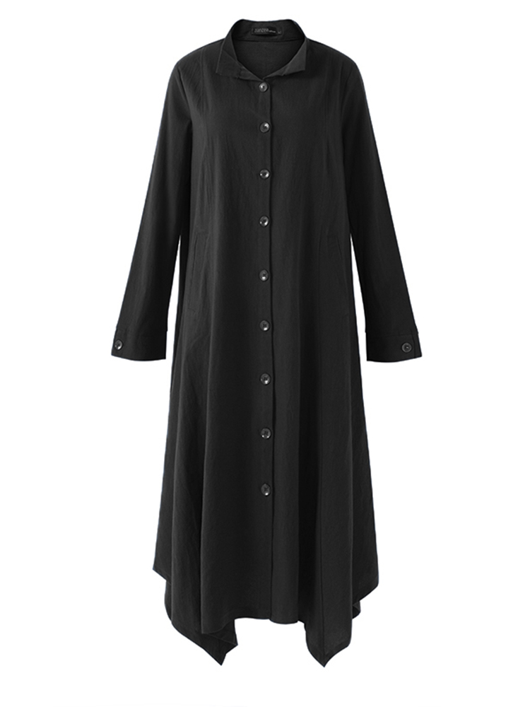 Vintage Women Turn-down Collar Long Cardigans