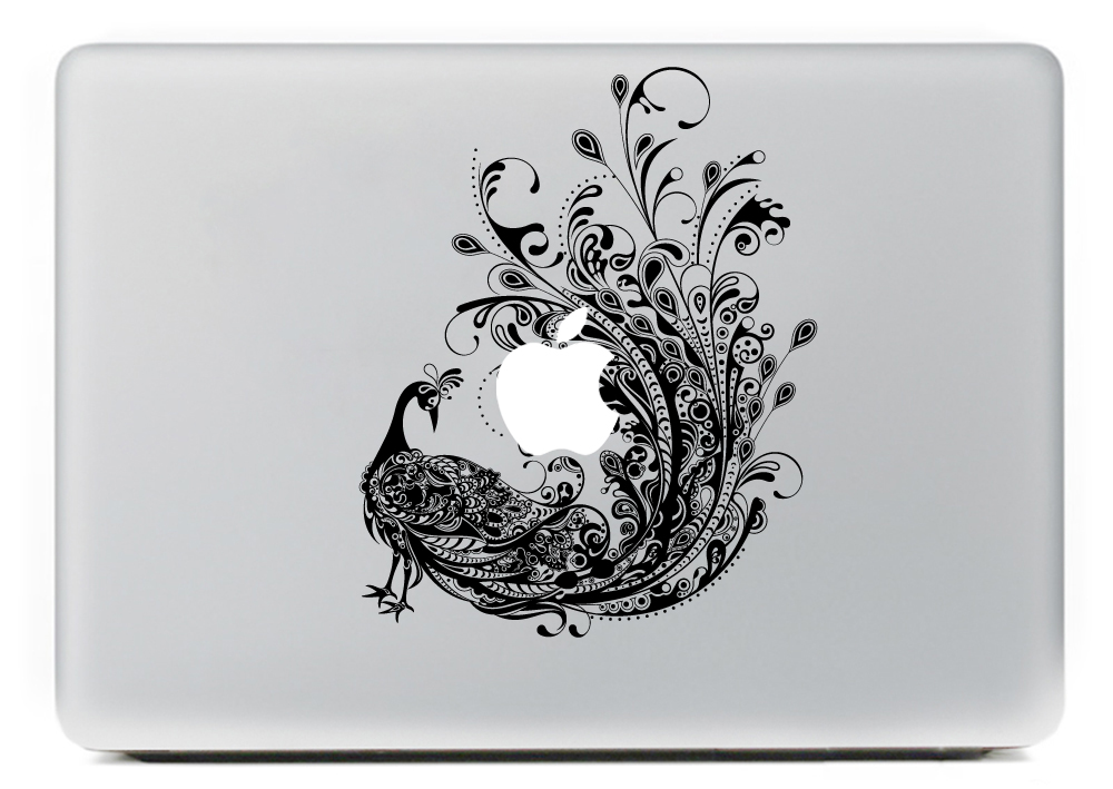 PAG Peacock Decorative Laptop Decal Removable Bubble Free Self-adhesive Partial Color Skin Sticker