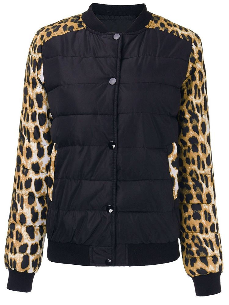 Women Patchwork Leopard Printed Long Sleeve Down Coat