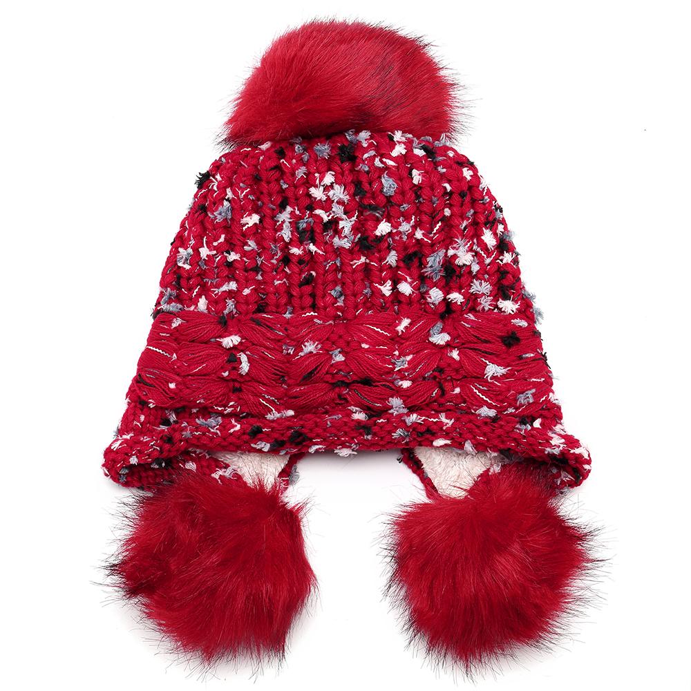 Women Winter Warm Cute Earflap Pompoms Knitted Beanie Hat