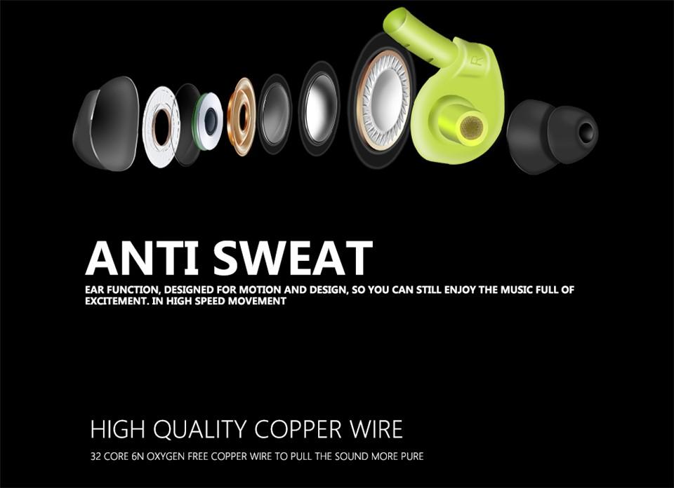 FONGE S500 Sport Stereo Bass 3.5mm In-ear Earphone Running Waterproof Sweatproof with Mic Headset