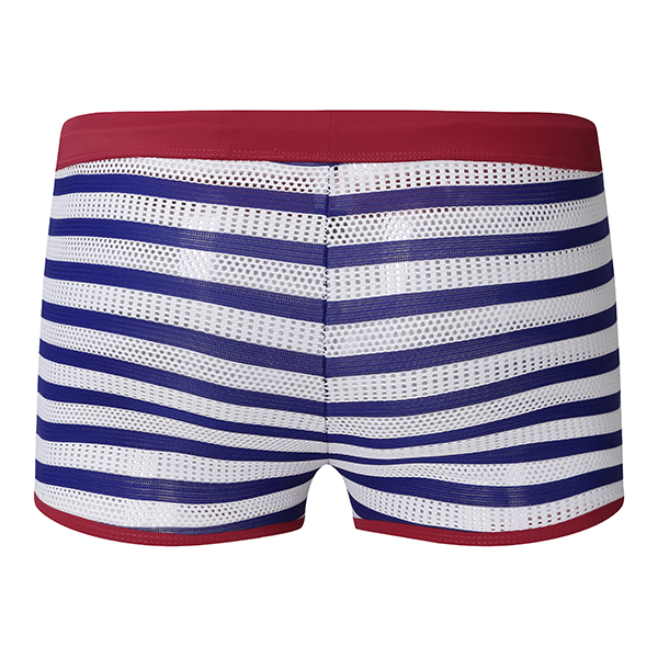 Mens Striped Sexy Mesh Breathable Trunks Fashion Swimwear