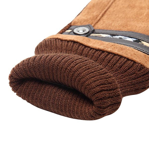 Unisex Pigskin Leather Driving Gloves Cycling Coral Fleece Linen Bike Outdoor Mittens For Men Women
